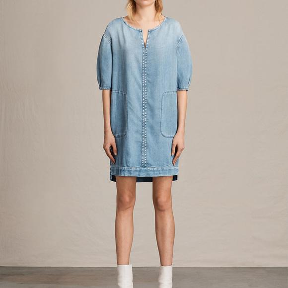 fbfbbb1791f AllSaints Sherri Denim Dress Mid Indigo Blue xss m